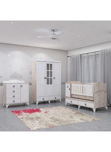 Garaj Home Garaj Home Sude Beyaz Membran Country Asansörlü Bebek Odası Takımı Renkli